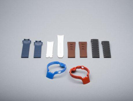 Fashionable watch rubber, silicone, plastic, multi-compound components